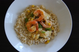 Cod and shrimp stir fry